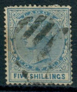 Lagos 1886 Very Scarce 5s Blue Crown CA Watermark Fine Used SG28 CV £500