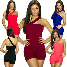 Damen One Shoulder Overall Bandeau Hot Pants Catsuit S 34 36 One Piece Einteiler