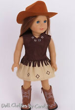 "Brown Western Cowgirl Outfit Hat Boots fit 18"" American Girl Doll Cowboy"