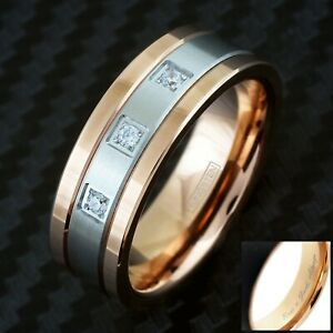 Engraved 8mm Rose Gold Tungsten w/ Silver Center Stripe & Triple CZ Men's Ring