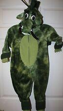 Toddler Boys Green Plush Hooded Halloween Pretend Dragon Costume 12-24 Mo