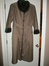 Vintage Reversible Women's Fur Lined Coat Belted Brown Long Women Size 8