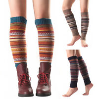Women Striped Knitted Leg Warmers Footless Knee High Fashion Boot Socks Warm MX