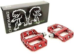 "Chromag Radar Mountain Bike Platform Pedals 9/16"" Red"