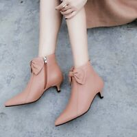 Women's Autumn Sweet Bow Side Zipper Ankle Boots Fashion Casual New Pointed Toes