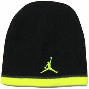 Nike Air Jordan Jumpman Boys Beanie Hat Black/Volt/Gray Youth Kids Ages 8-20 NBA