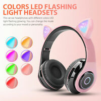 LED Cat Ear Noise Cancelling Headphones Bluetooth 5.0 Kids Headset With Mic Gift