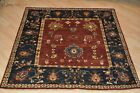 4x4 ft. TOP QUALITY HAND-KNOTTED Vegetable dye chobi MAHAL design rust navy