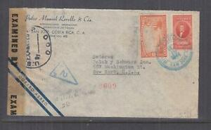 COSTA RICA, 1944 Airmail Censored cover, San Jose to USA, 10c. & 85c.