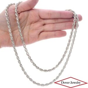 """Milor Sterling Silver 35.5"""" Long Rope Chain Necklace 67.6 Grams NR"""
