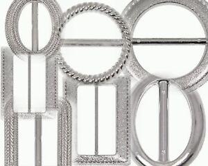 10 Metallic Effect Silver Ribbon Buckle Sliders Gifts Wedding Invitation cards