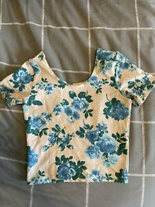 American Apparel stretchy floral crop tee top size small