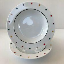 "Pair of (2) Sasaki ELEMENTS Rimmed Soup Bowl 9"" Multi-Colored Confetti Border"