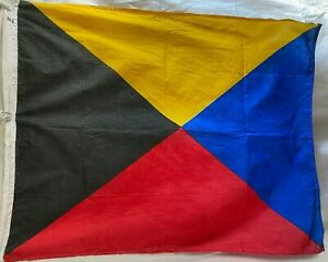 """Vintage Nautical - Signal Flag Letter Z  31"""" x 40"""" -  Red/Blk/Yel/Blu Maritime"""