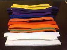 Lot Of 14 Karate Belts Martial Arts White Blue Orange Purple yellow