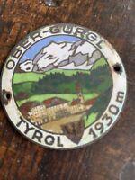 Early Ober-Gurgl Tyrol Austria Automobilia Enamel On Copper Car Badge