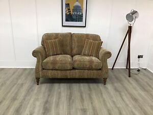 Parker Knoll 2 Seat Seater Sofa In Gold Patterned Fabric (Westbury)