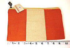 New with Tags The Royal Standard Cosmetic Bag Burnt Orange Natural Stripe Zipper