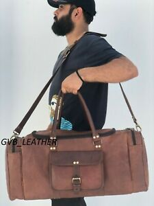 """25"""" Leather Squire Duffle Bag Travel Luggage Handbags Weekend Holdall Air Cabin"""