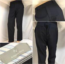 Alberto Verdi Pants 37x30 Blue Super 120s Wool Flat Front Turkey Mint YGI 9105