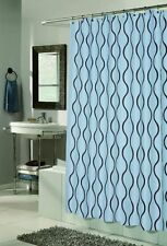 Geneva Fabric Shower Curtain Design With Flocking 70x72 Inch Multiple Colors