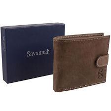 New Mens Brown Hunter Leather Wallet Change Pocket Tabbed Savannah - Gift Boxed