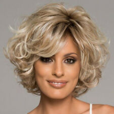 Charm Women's  Blonde Mix Short Curly Lady's Hair Wig Full Wigs+free Wig cap