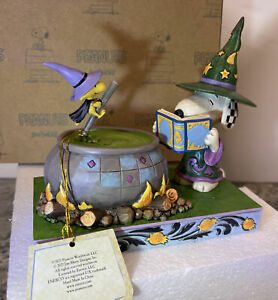 Jim Shore Peanuts Halloween Snoopy Woodstock Witch Cauldron Bewitching Beagle
