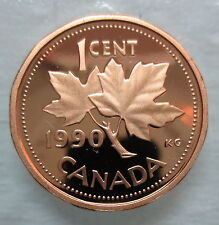 1990 CANADA 1 CENT PROOF PENNY COIN