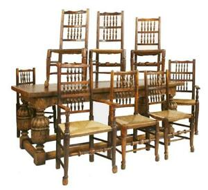 20th Century Carved Oak Refectory Table & 8 Dining Chairs