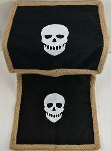 "Hobby Lobby Pillow Covers 18"" x 18"" Skull White Black Woven Jute Trim Decorative"