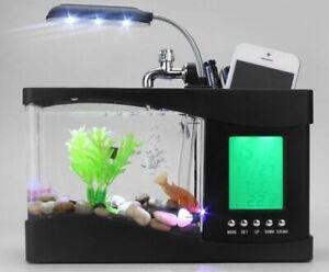 Mini Fish Tank Temp Aquarium Pebbles USB Desktop LCD Timer Clock LED Lamp Light