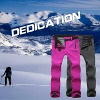 Men Women Winter Outdoor Hiking Ski Pants Fleece Windproof Waterproof Trousers