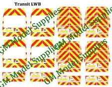 00 1:76 Scale Waterslide Transfers Decals Ford Transit LWB Rear Chevrons