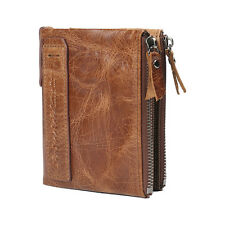 Mens Luxurious 100 Genuine Bifold Leather Wallet With Zip Cash Coin Pocket