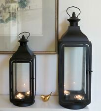Large & medium Black Rectangle metal Set of 2 lanterns Indoor outdoor wedding
