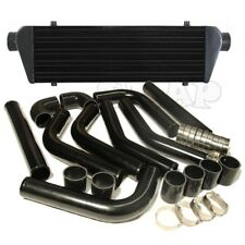 "Universal Turbo 28""Intercooler+2.5""8Pc Aluminum Piping Kit Pipe Black 3 Ply Hose"