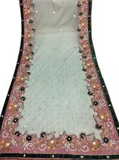 Om Vintage Dupatta Bridal Hand Embroidered Green Scarves Veil Hijab W-1808
