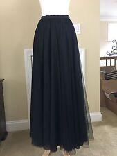 """TOM AND LINDA PLATT Black Tulle 37"""" Long Skirt Size 6"""
