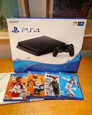 PlayStation 4 Slim Black 1TB Madden NBA2k FIFA NHL game package PS4 A+ condition