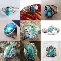 Vintage Women Men 925 Silver Ring Turquoise Wedding Engagement Ring Size 6-10