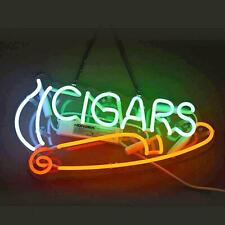 """""""Cigars"""" Cigarattes Open Acrylic Neon Sign Bar Gift 14""""x7"""" Light Lamp Real Glass"""