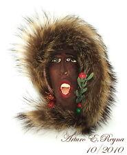 Arturo E.Reyna AFRICAN AMERICAN LADY SINGER SCULPTURE Wearable Art Brooch