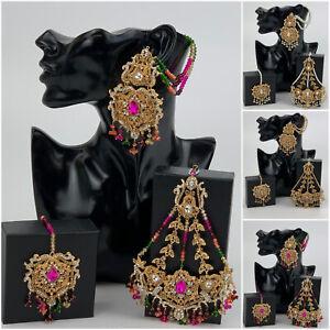 Wedding Indian Bridal Jewellery Earrings Jhumka Jhumki Maang Tikka For Women