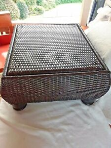BASKET WEAVE DESIGN OTTOMAN SHAPE CONTAINER W/ LID