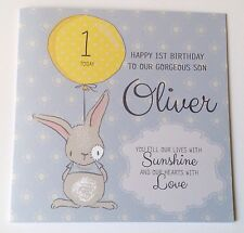 Personalised Watercolour Bunny 1st Birthday Card Son Grandson Godson 2nd 3rd 4th