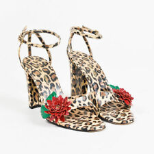 Dolce & Gabbana Leopard Print Sandals Leather Embellished Red Flower Heel Sz 39