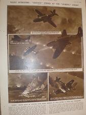 RAF Fighter Avion Havoc (Douglas Boston) en action G H Davis 1942 OLD PRINT