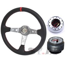 Mustang Type-R Deep Dish 350Mm Steering Wheel Ch/Red+Hub+Quick Release Silver