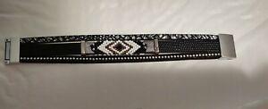 BOHO BRACELET multilayered leather style seed bead bohemian magnetic black USA*